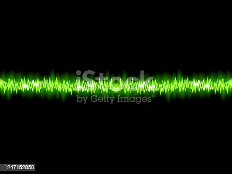 istock Green sound wave on white background. + EPS10 1247152850