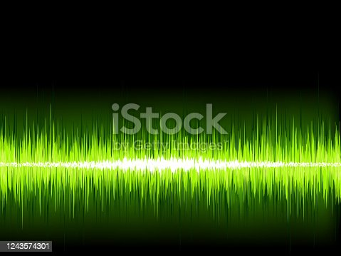 istock Green sound wave on white background. + EPS8 1243574301