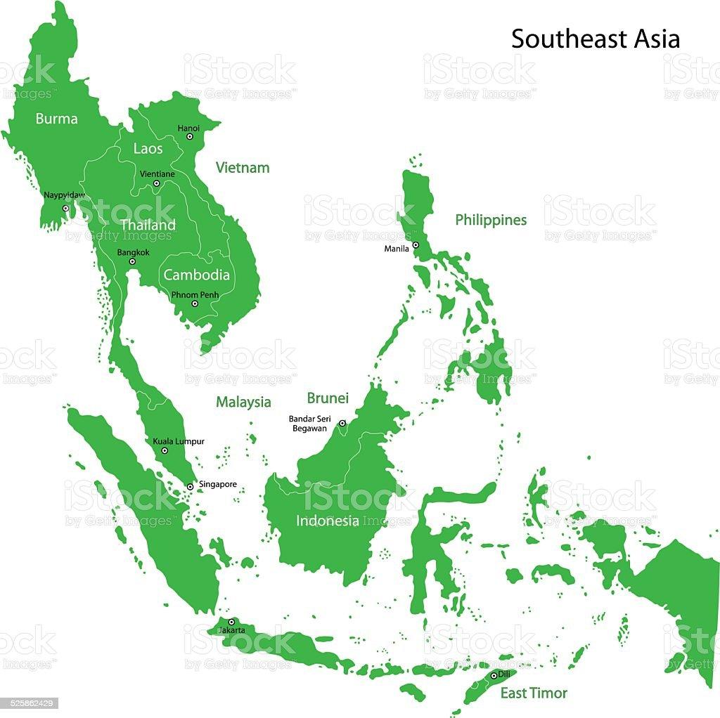 Green Southeastern Asia vector art illustration