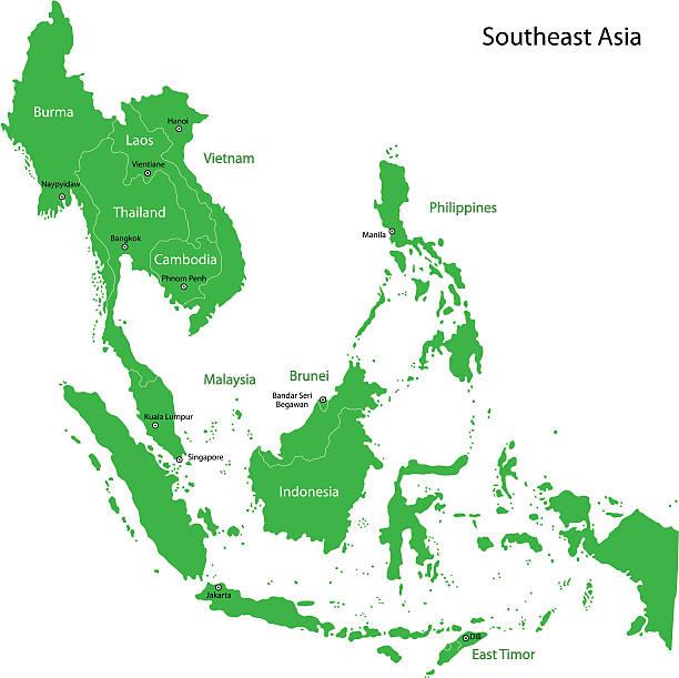 グリーン南東アジア - アジア地図点のイラスト素材/クリップアート素材/マンガ素材/アイコン素材