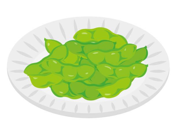 白い背景に緑の大豆 - 枝豆点のイラスト素材/クリップアート素材/マンガ素材/アイコン素材