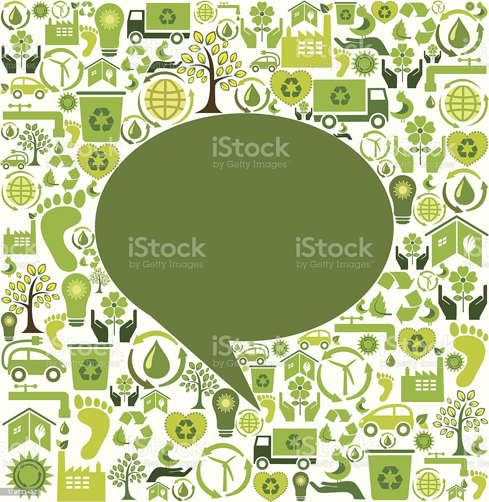 Green speech bubble and icons royalty-free stock vector art