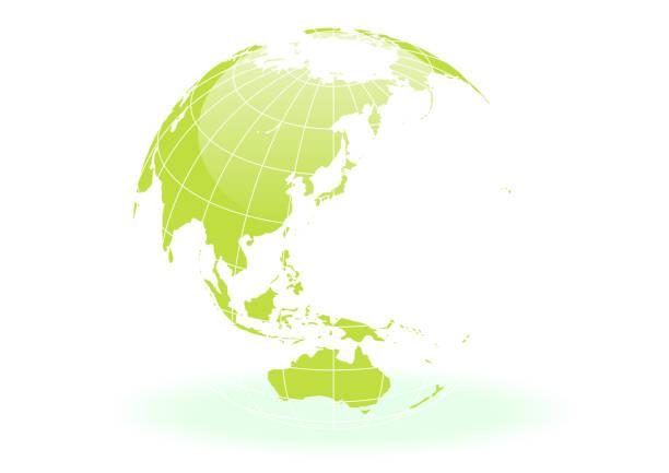 緑の球形の地球 - 地球 日本点のイラスト素材/クリップアート素材/マンガ素材/アイコン素材