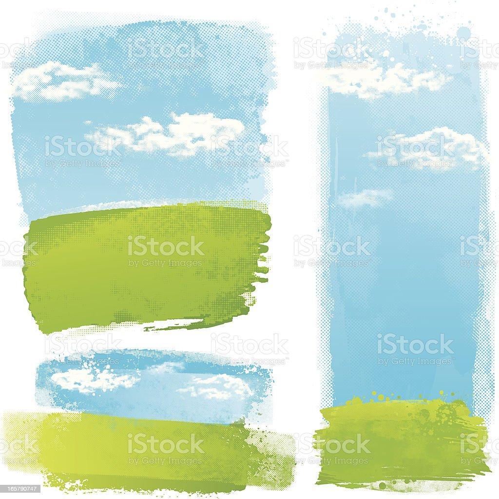 Green splash landscapes vector art illustration