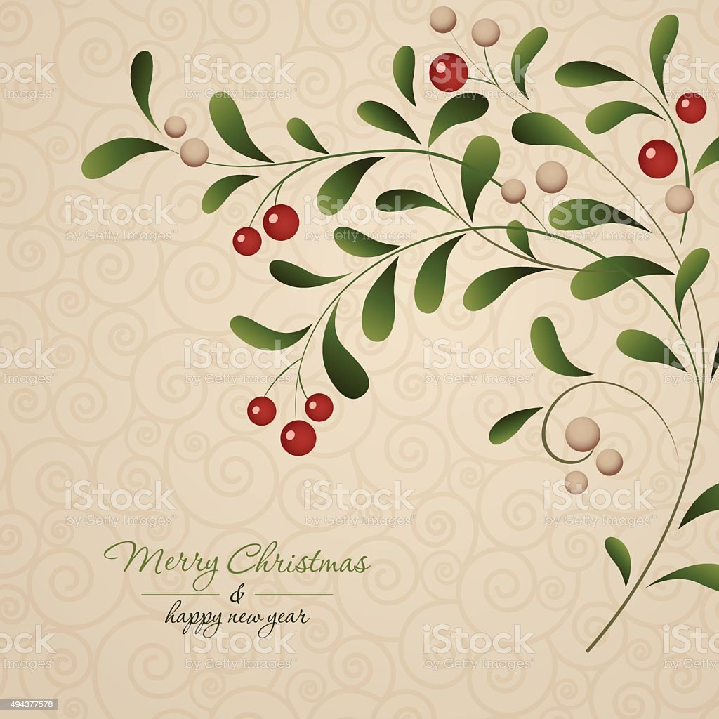 Green sprig with red berries isolated on vintage background vector art illustration