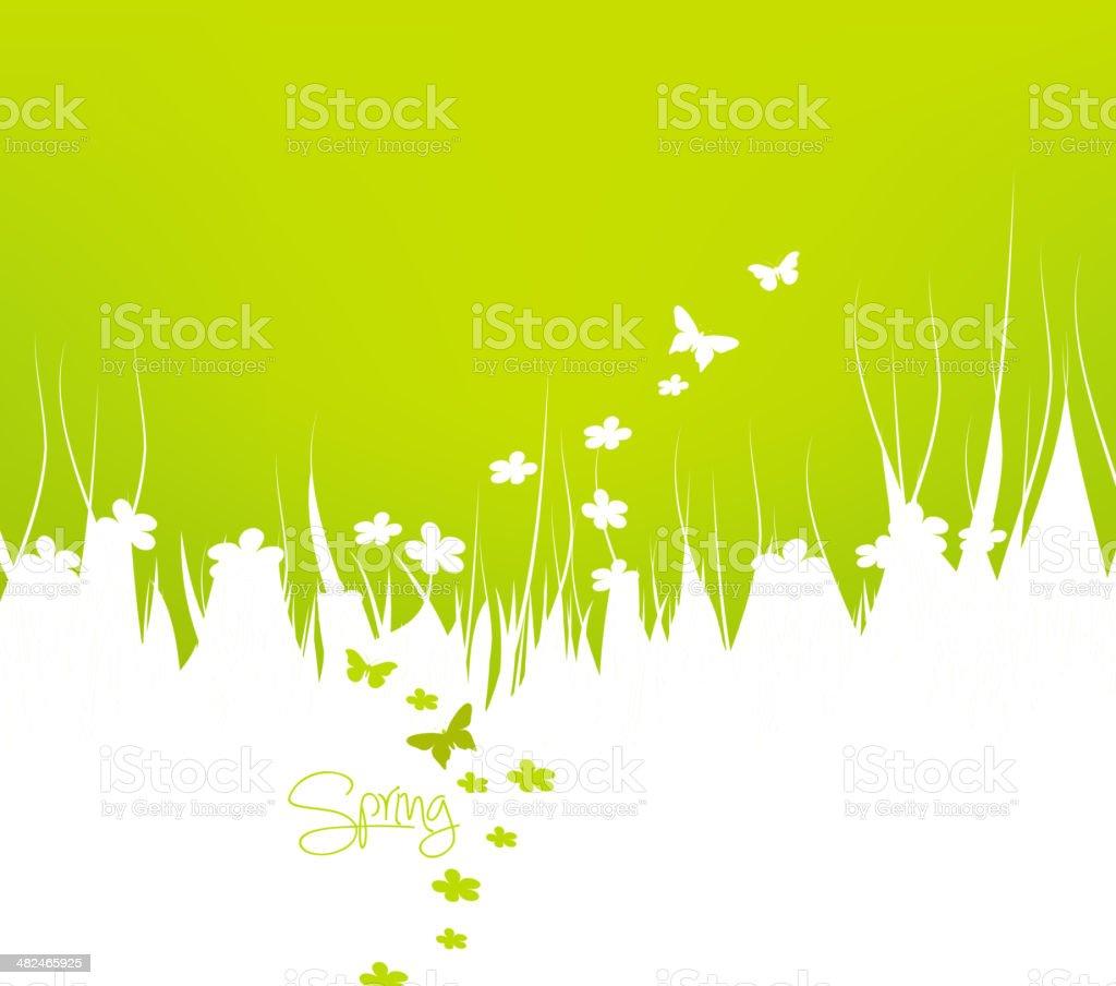 Green spring background vector art illustration