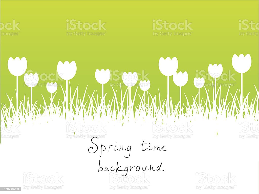 Green spring background with place for text vector art illustration