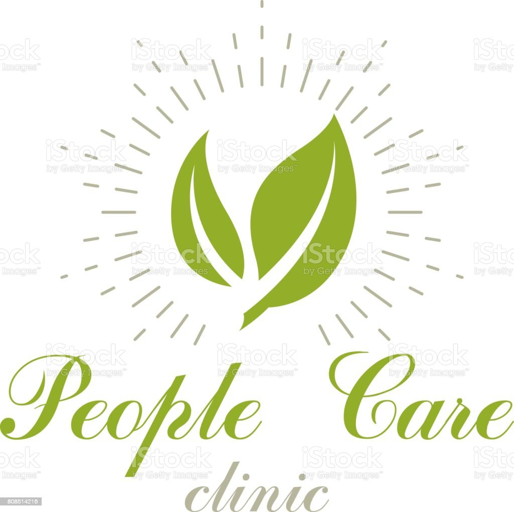 Green Spring Leaves Vector Symbol For Use In Medical And Social