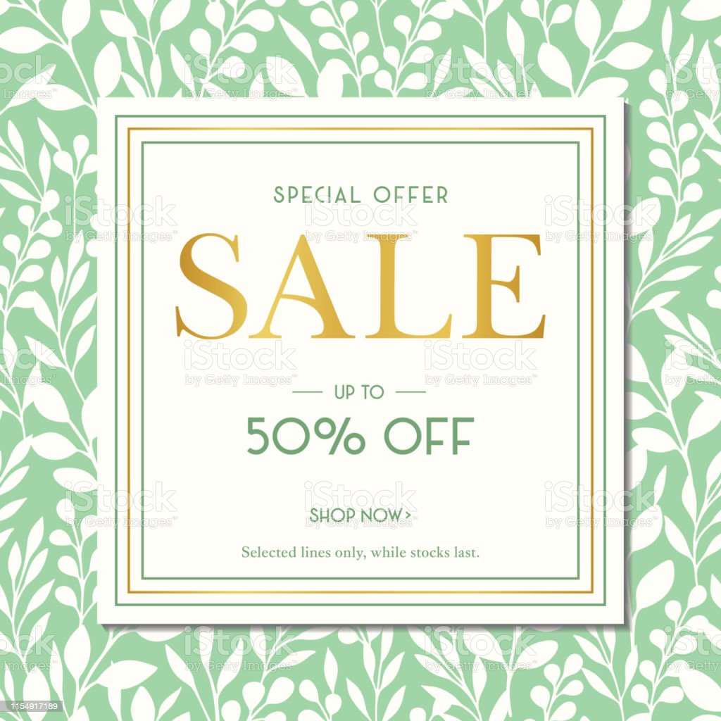 Green Spring Summer Foliage Silhouettes Sale Promotion Square Banner....