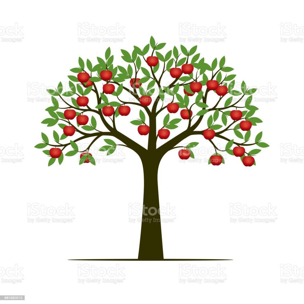 Green spring tree and red apples. Vector Illustration. vector art illustration
