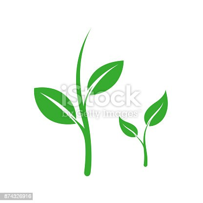 Green sprout with leaves icons. Vector illustration isolated on white background
