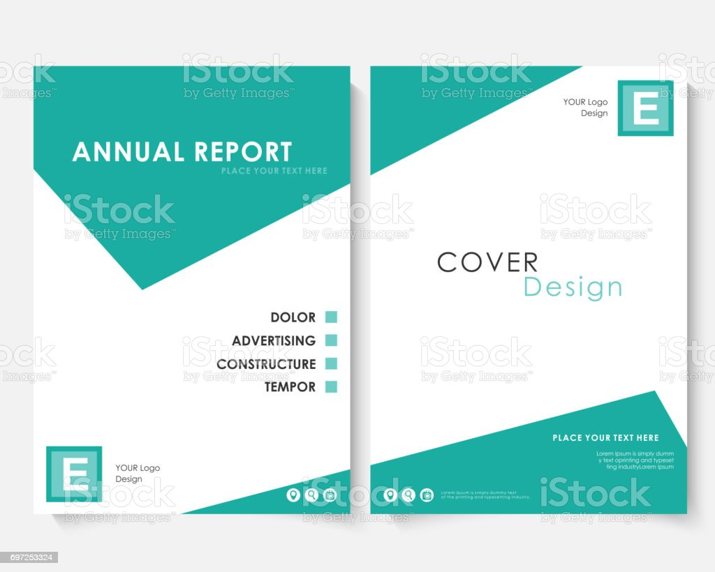Green Square Annual Report Cover Design Template Vector Brochure ...