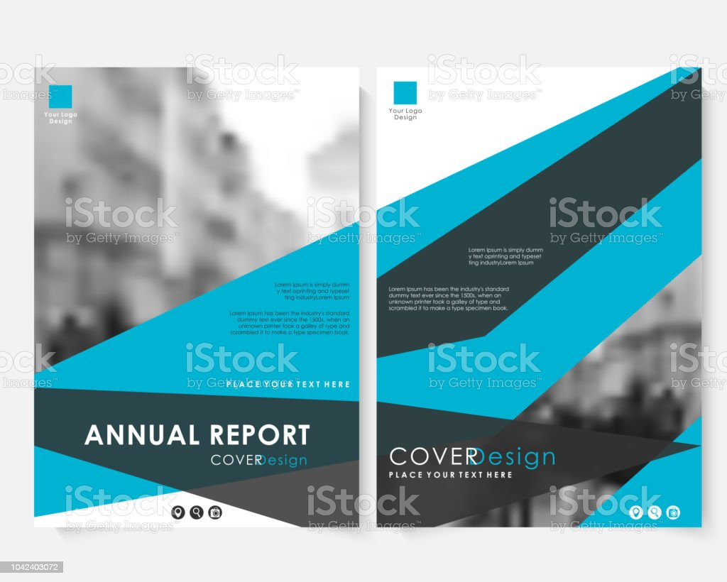 Green Square Annual Report Cover Design Template With Blurred Photo
