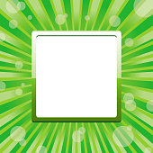 Green square frame template with sun baubles and blank place for text, vector illustration