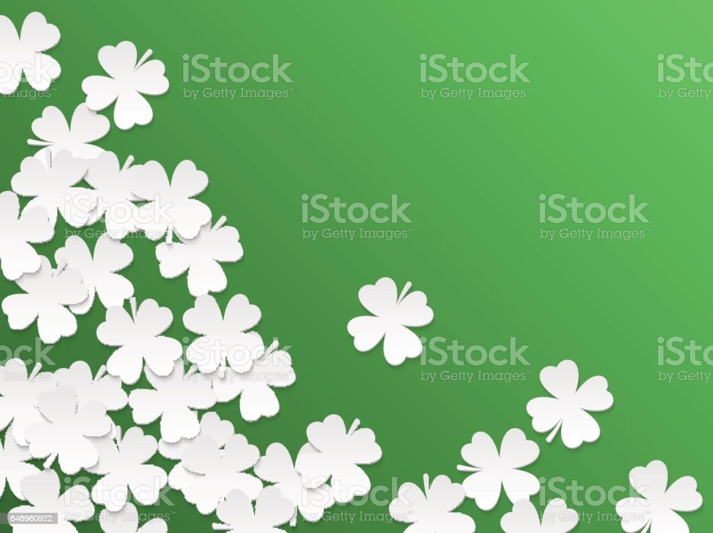 Green St. Patrick day background with clover four-leaf flat white paper cut leaves. Vector simple design vector art illustration