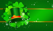Green and golden St. Patrick's day banner with hat and clover. Horizontal design