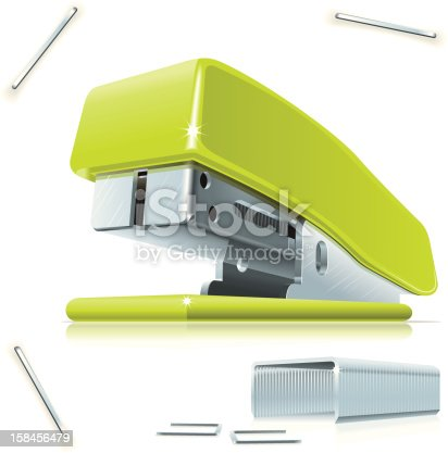 Illustration of little green stapler with staples on the table.
