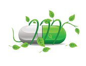 green stem twists icon green white pill