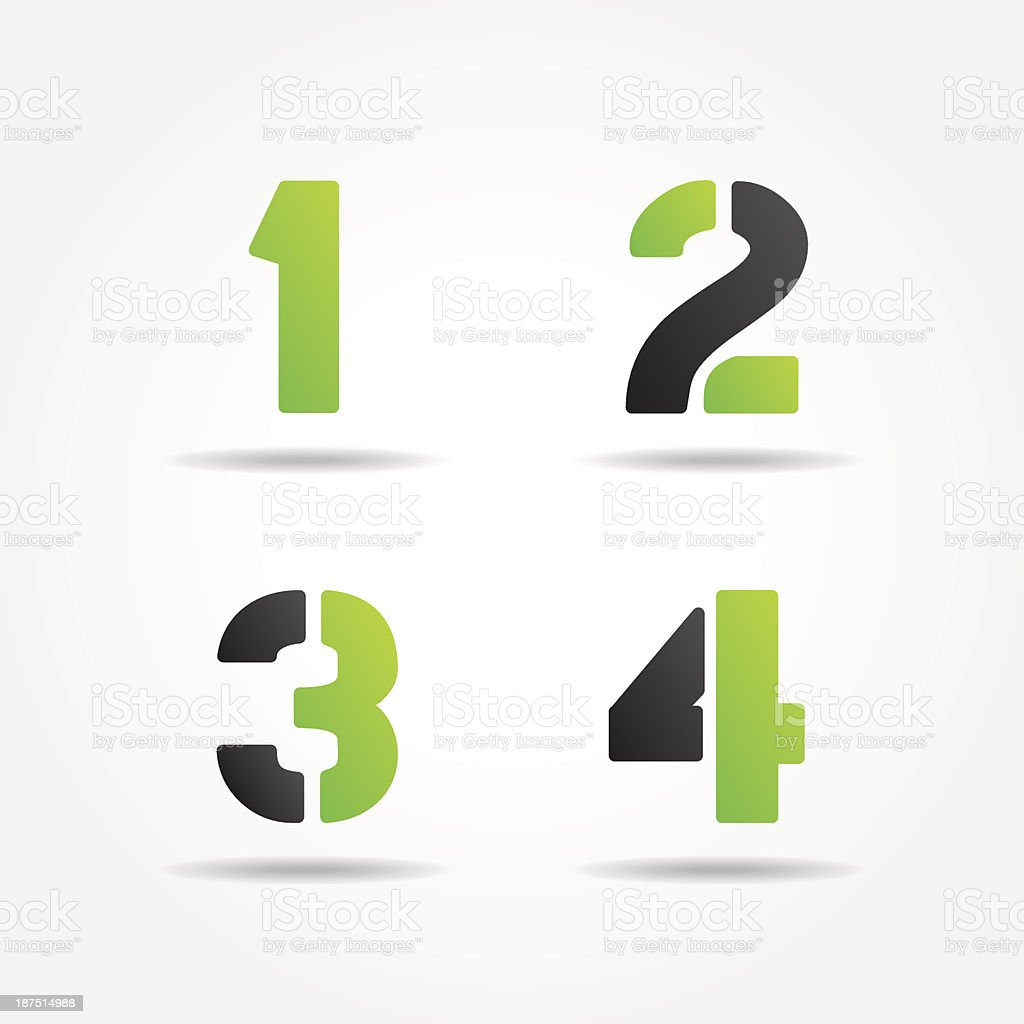 green stencil numbers vector art illustration