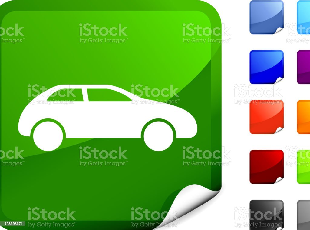 Green Sticker with a Logo of a Car royalty-free stock vector art