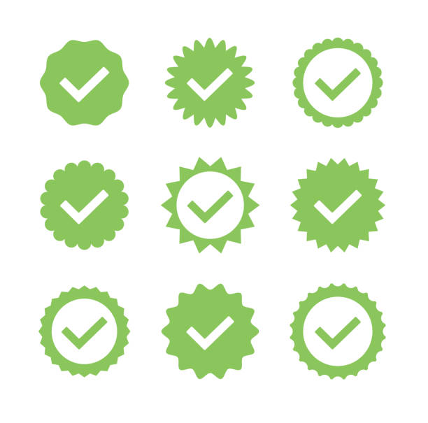 Green stickers badges check mark isolated set collection. Vector flat cartoon graphic design illustration vector art illustration