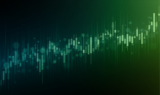 Green stock market growth background illustration