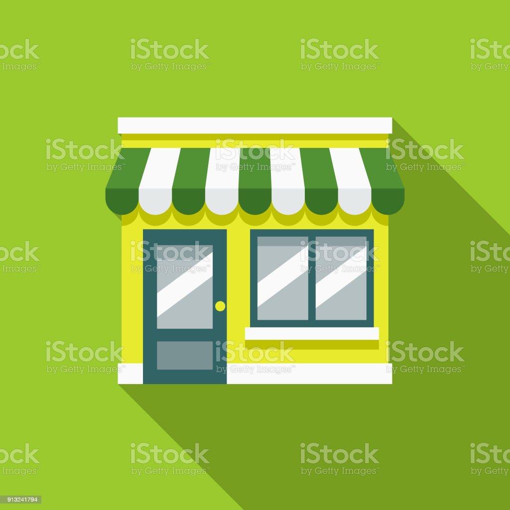 Green Store Flat Design Environmental Icon - Векторная графика Без людей роялти-фри