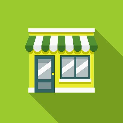 Green Store Flat Design Environmental Icon — стоковая векторная графика и другие изображения на тему Без людей