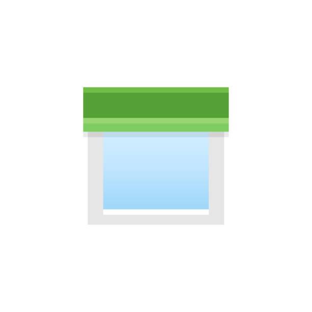 grüner stoff gerade volant. vektor-illustration. flache ikone profilkranz. element des hauses & büro fensterdekoration. - stoffrollos stock-grafiken, -clipart, -cartoons und -symbole