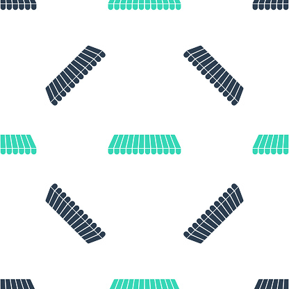 Green Striped awning icon isolated seamless pattern on white background. Outdoor sunshade sign. Awning canopy for shops, cafes and street restaurants. Vector