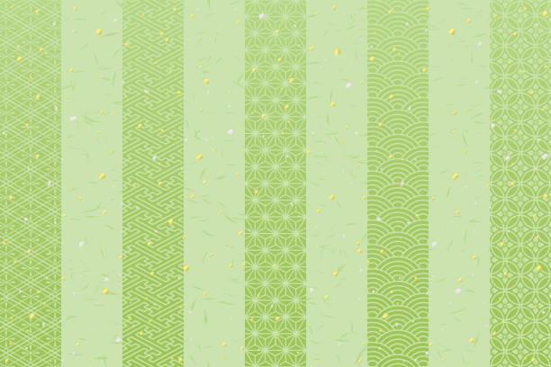 日本の伝統的なデザインと緑の縞模様の背景。緑茶のイメージ。 - 抹茶点のイラスト素材/クリップアート素材/マンガ素材/アイコン素材