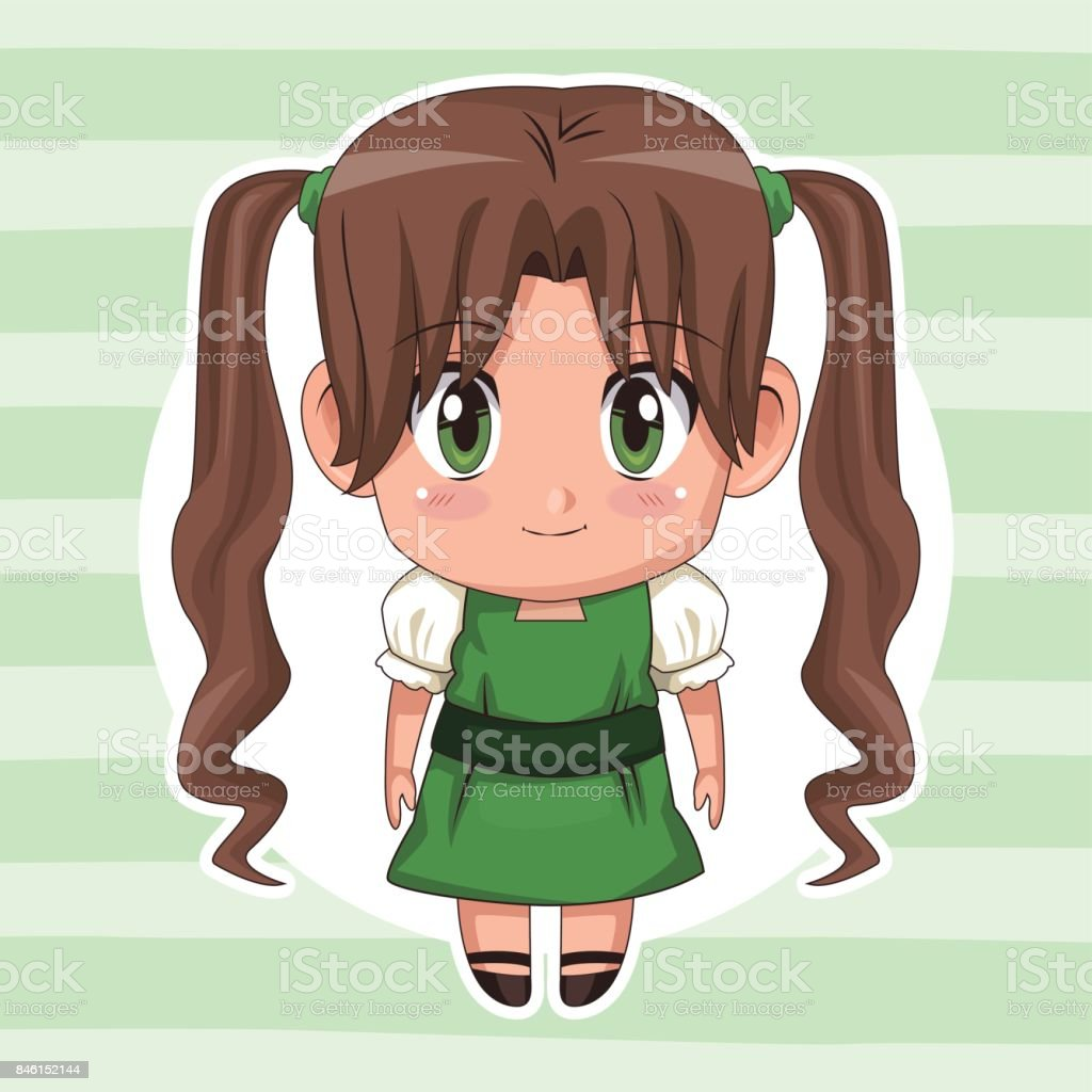 Green striped color background with circular frame and cute anime girl with long pigtails hairstyle royalty