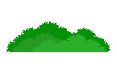 Green stylized bush icon, on white background, vector illustration.