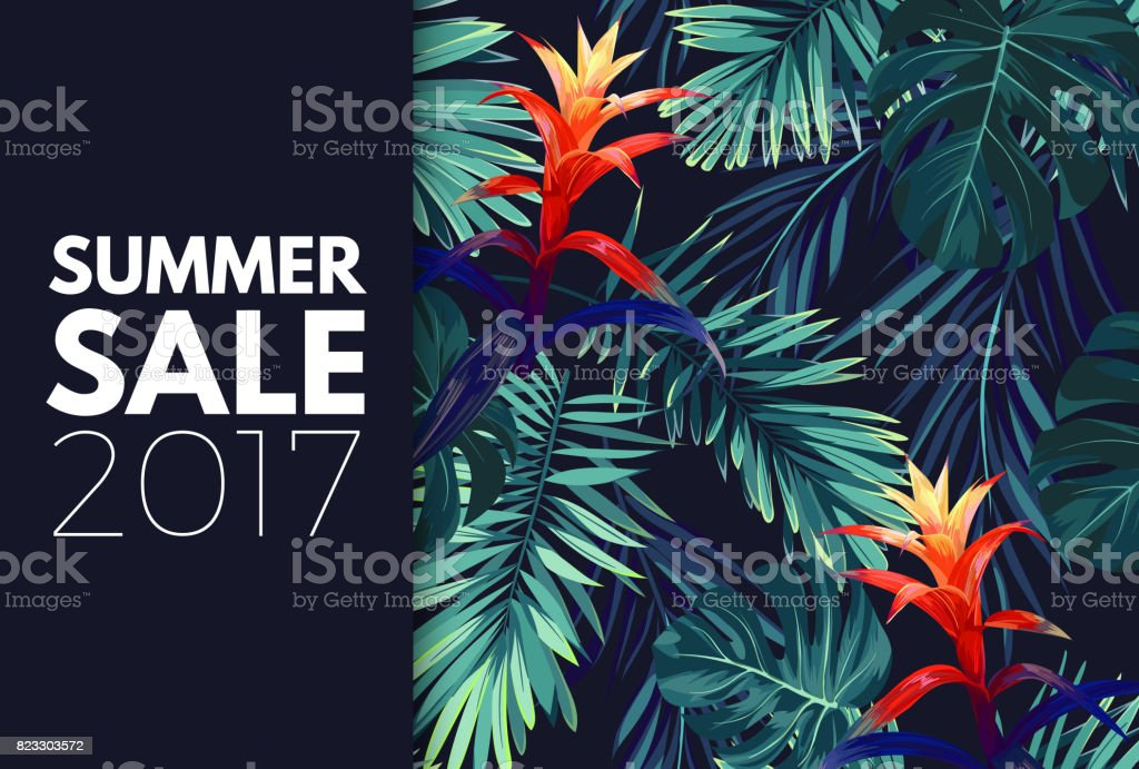 Green summer tropical background with exotic palm leaves and flowers. Vector floral background royalty-free green summer tropical background with exotic palm leaves and flowers vector floral background stock illustration - download image now