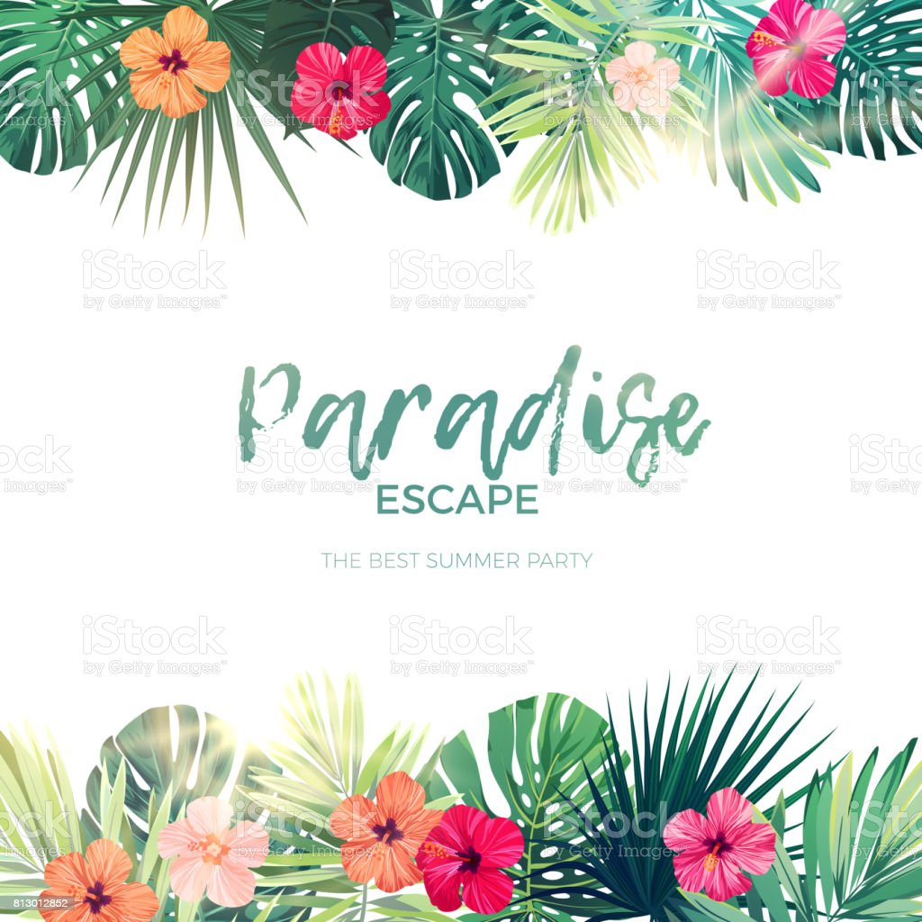 Green summer tropical background with exotic palm leaves and hibiscus flowers. Vector floral background