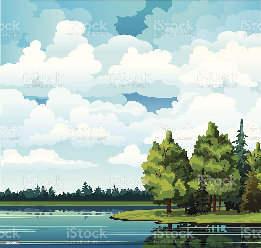 Green summer with trees, clouds and lake royalty-free green summer with trees clouds and lake stock vector art & more images of backgrounds