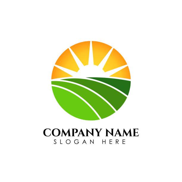 stockillustraties, clipart, cartoons en iconen met groene sunrise icon symbool ontwerpsjabloon. natuurgroen landschap vector illustratie - fresh start yellow
