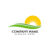 green sunrise icon symbol design template. Nature green landscape vector illustration