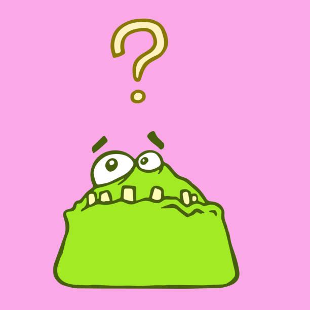 grünen überrascht gerinnsel monster. - extravagant schutzbrille stock-grafiken, -clipart, -cartoons und -symbole