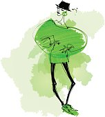 Vector hand drawn illustration of young beauty woman in hat dressed in green sweater and shoes. Image contains transparency, 10 EPS