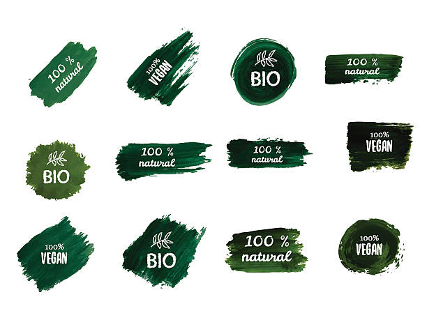 green tablets with inscriptions. green labels. - bio lebensmittel stock-grafiken, -clipart, -cartoons und -symbole