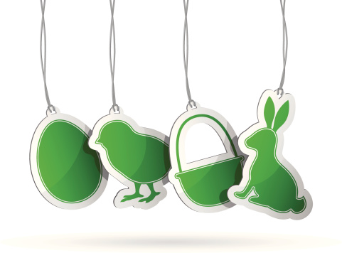 Green tags to symbolize Easter