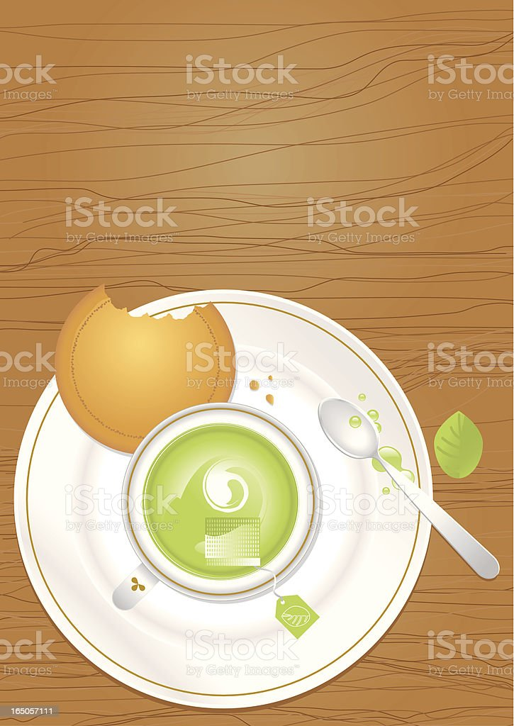 Green Tea and Biscuit royalty-free stock vector art