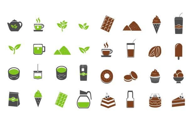緑茶とチョコレート ココア アイコン設定ベクトル図 - 抹茶点のイラスト素材/クリップアート素材/マンガ素材/アイコン素材