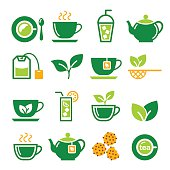 Drink, beverage icons - tea isolated on white