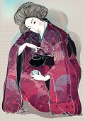 Vector illustration of asian woman in ornate kimono with teapot