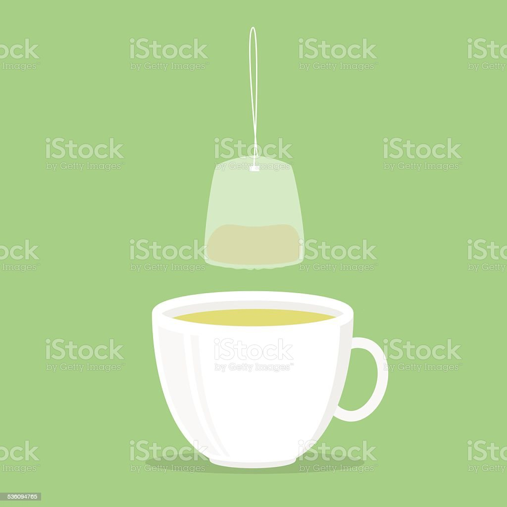 Green tea cup vector art illustration