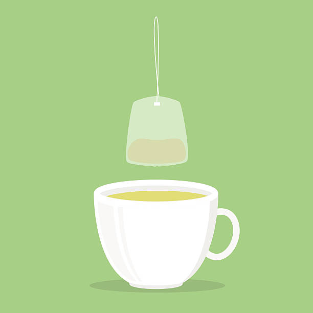 illustrazioni stock, clip art, cartoni animati e icone di tendenza di tazza di tè verde - camellia sinensis