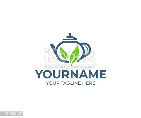 Green tea design. Teapot with leaves vector design. Teahouse design