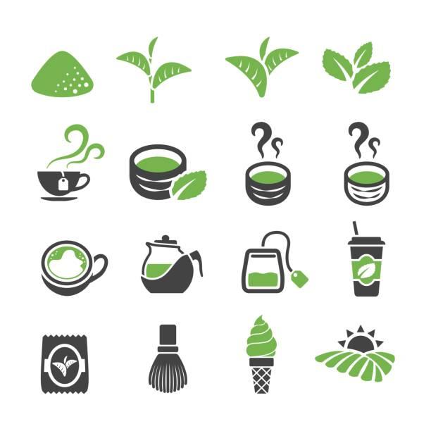 グリーンティーのアイコン - 抹茶点のイラスト素材/クリップアート素材/マンガ素材/アイコン素材